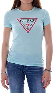 Guess Luxury Fashion Womens W92I82K7WA0LIGHTBLUE Light Blue T-Shirt | Season Outlet