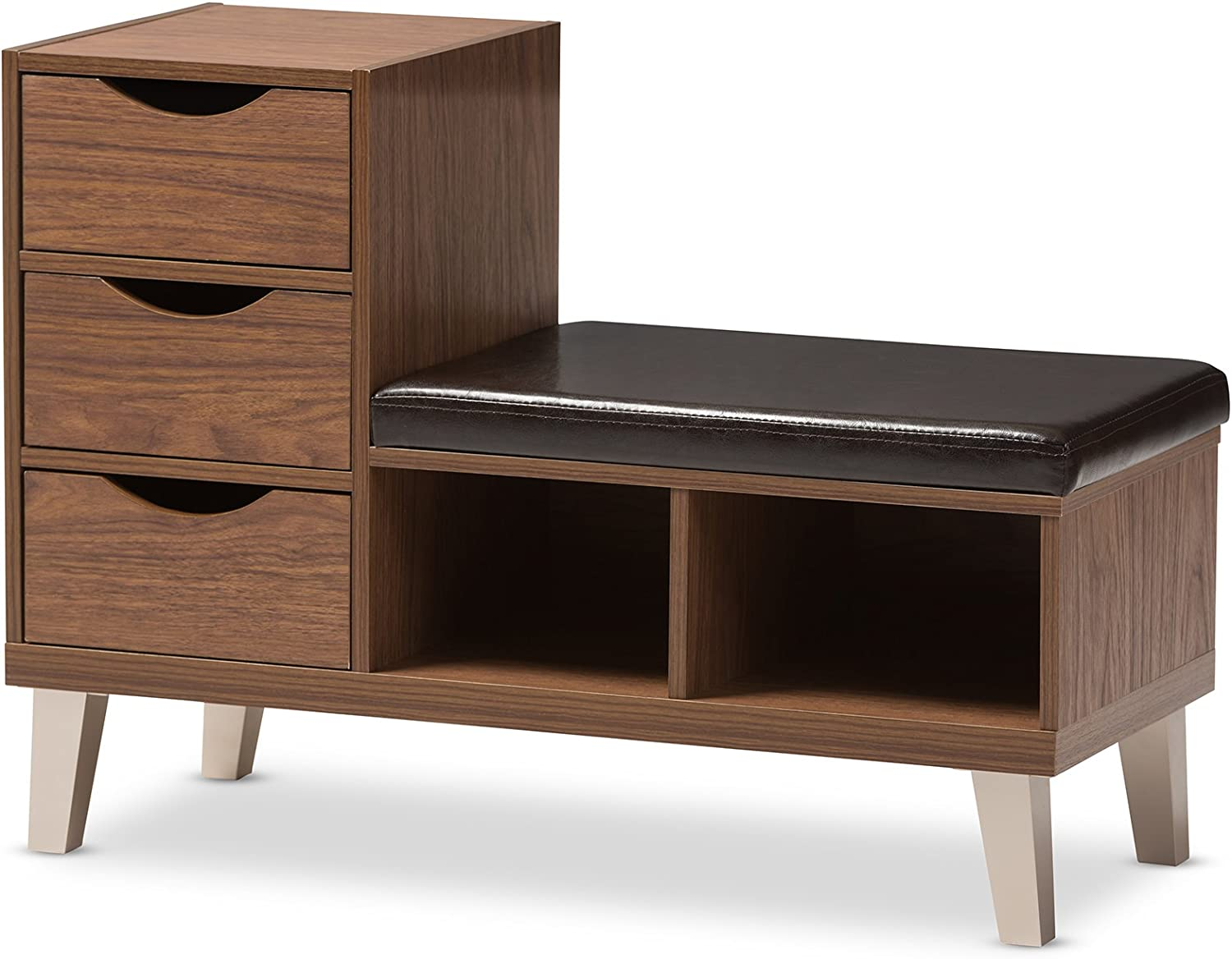 Baxton Studio Jaime Walnut Wood 3-Drawer shoes Storage Padded Leatherette Seating Bench with Two Open Shelves