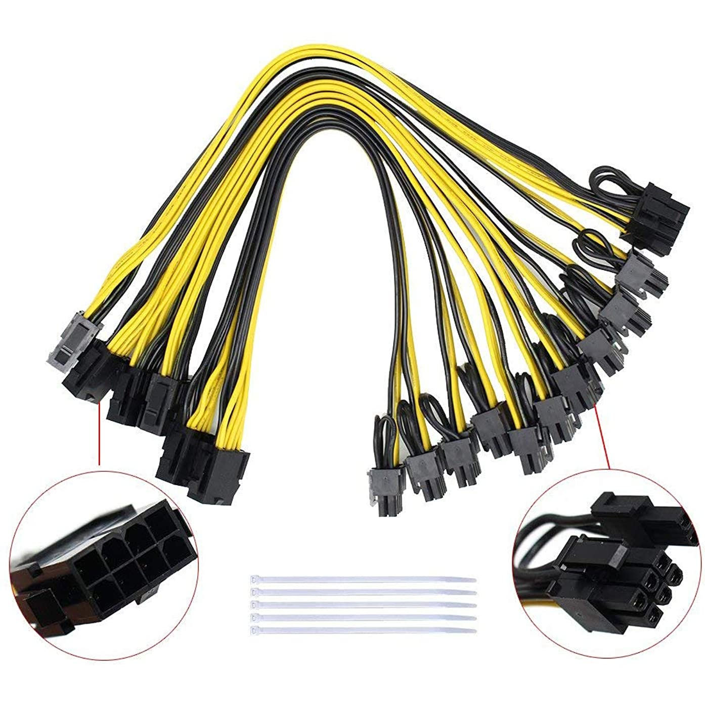 S-Union [6PCs] 18AWG 8Pin to Dual 8 (6+2)Pin Power Supply Cable for CPU Splitter PCI-E Graphics Card,Power Extension Cable 8Pin CPU molex,GPU Mining ZEC Ethreum (11.8Inch 30cm,with 5 Nylon Cable Ties)