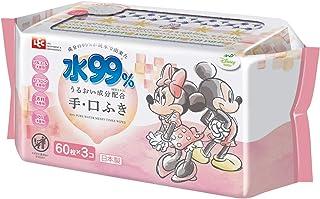 ディズニー 純水99% 手・くちふき 60枚×3個 (ミニー) 日本製 うるおい成分配合