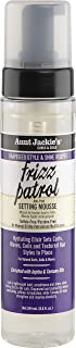 Aunt Jackie's Grapeseed Recipes - Frizz Patrol Anti-Poof Twist & Curl Setting Mousse, lightweight, Sets Waves, Curls, Coils, 8.5 Fl Oz