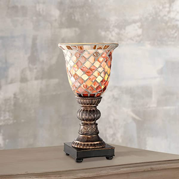 Traditional Uplight Accent Table Lamp 12 High Bronze Mosaic Glass Shade For Bedroom Bedside Nightstand Office Regency Hill