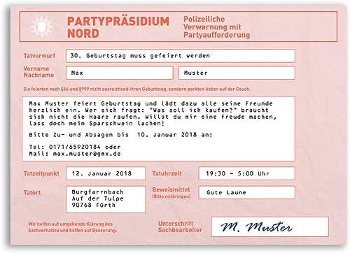(100 x) Einladungskarten Geburtstag Strafzettel Auto Polizei Parken Einladungen