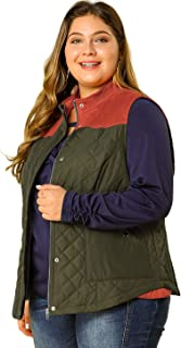 Women's Plus Size Gilets Color Block Stand Collar Lightweight Quilted Vest with Pockets
