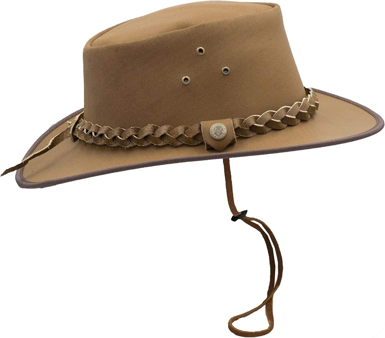 Leather Cowhide Outback Braided Traveller Hat Walker and Hawkes