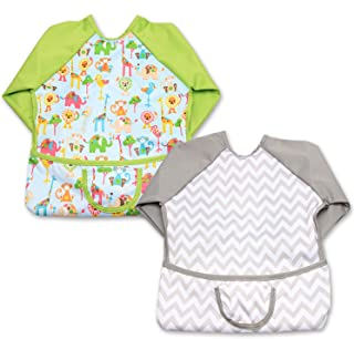 Luxja Baby Waterproof Sleeved Bib, Long Sleeve Bib for Toddler (6-24 Months), Animal World + Gray Chevron