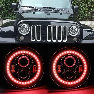 HOZAN 7inch Hi/Low Beam LED Headlight with Red Halo Ring for Jeep Wrangler JK JKU TJ CJ LJ Rubicon Sahara-2 Pack