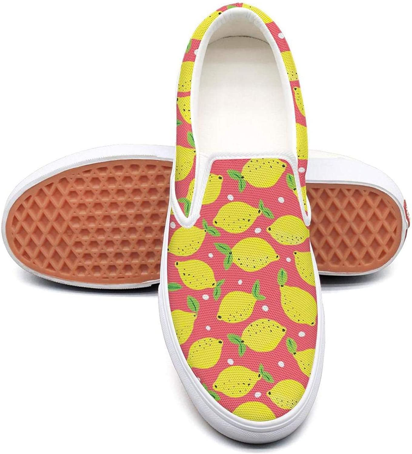 SKULLP Lemon Yellow Sketch Gym shoes for Women Lo-Top Shock Absorption Lace-Up Running shoes