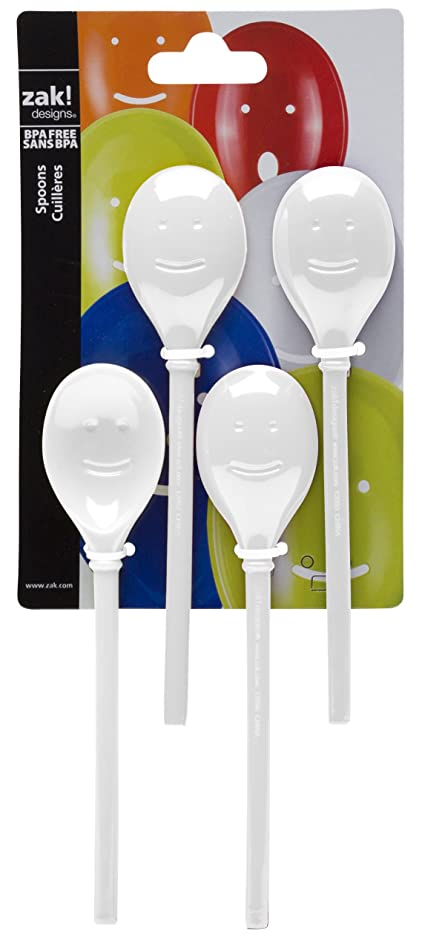 Zak Designs Happy Face Mixing Spoons, Set of 4 Pieces, Solid, White