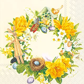 Celebrate the Home Spring 3-Ply Paper Luncheon Napkins, Daffodil Wreath, 20-Count