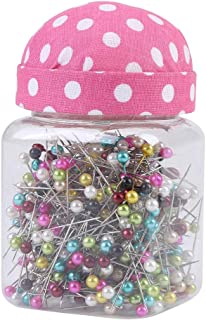 Hlitand 500Pcs Multicolor Beads Needles Quilting Pins in Pink Fabric Covered Pin Cushion Bottle Sewing Craft