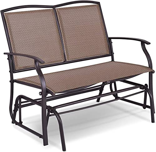 discount Giantex Patio Glider Stable Steel Frame sale for Outdoor Backyard,Beside Pool,Lawn, Swing Loveseat Patio Swing Rocker Lounge Glider high quality Chair (Brown) outlet online sale