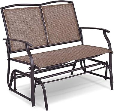 Giantex Patio Glider Stable Steel Frame for Outdoor Backyard,Beside Pool,Lawn, Swing Loveseat Patio Swing Rocker Lounge Glide
