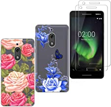 2 X Nokia 2.1 Case with 2 Pack Glass Screen Protector Phone Case for Men Women Girls Clear Soft TPU with Protective Bumper Cover Case for Nokia 2.1/Nokia 2 V
