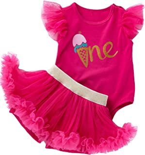 Shalofer Baby Girl First Birthday Tutu Outfit One Lace Ruffle Bodysuit
