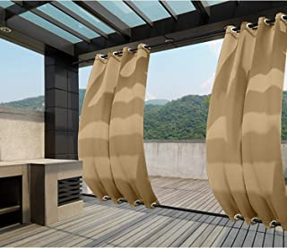 Macochico Windproof Curtains Grommet at Top and Bottom Wheat Outdoor Blackout Drapes Water Repellent for Cabana Gazebo Pergola Porch Noise Reducing Heat Insulated 84W x 84L (1 Panel)