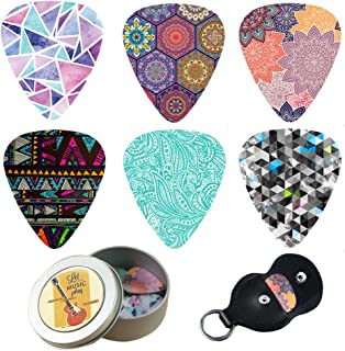 Guitar Picks - Cheliz 12 Medium Gauge Celluloid Guitar Picks In a Box W/Picks Holder. Unique Guitar Gift For Bass, Electric & Acoustic Guitars (Colourful Pattern)