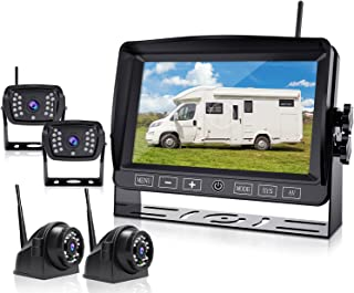 $399 » Xroose Wireless Backup Camera, 7 Inch HD 1080P Monitor with DVR Recorder & 4 Rearview Cameras, Simple Touch Button for RV/...