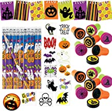 216 PIECE Halloween School Favor Pack for 24 Kids for Trick-or-Treat Gifts or Classroom Rewards with 24 Cute MINI Notepads, 24 Pencils, 24 Stampers, 120 Tattoo Bonus Halloween Pin by Another Dream