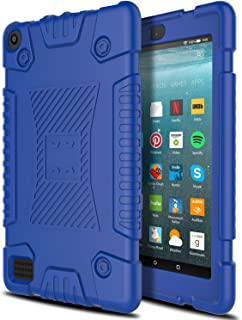 Amazon Fire 7 Case, AMENQ [Friendly Grip]Light Weight Anti-Slip Shockproof Soft Silicone Kid Friendly Case Cover for Amazon Fire HD 7 (Navy Blue)