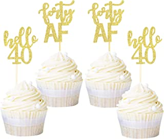 Ercadio 24 Pack Forty AF Cupcake Toppers Gold Glitter Hello 40 Cupcake Picks 40th Birthday Anniversary Retirement Party Ca...