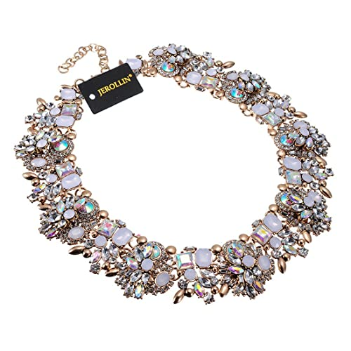 0889e674c83 Jerollin Vintage Gold Tone Chain Multi-Color Glass Crystal Collar Choker  Statement Bib Necklace