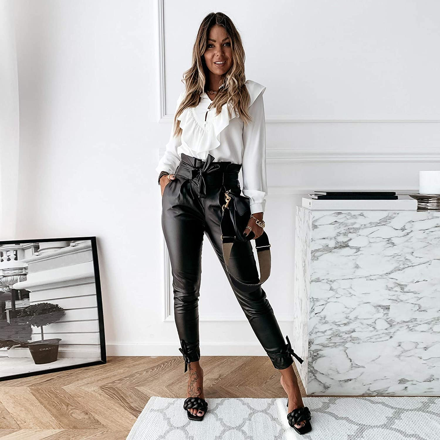 UpdateClassic Women Wear to Work Tight Pants High Waist Leather Pants with Large Fold Bow Womens Skinny Pants for Work