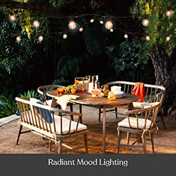 Brightech Ambience Pro - Globe, Waterproof LED Outdoor String Lights - 26 Ft Patio Lights with 1W Edison Bulbs Create...