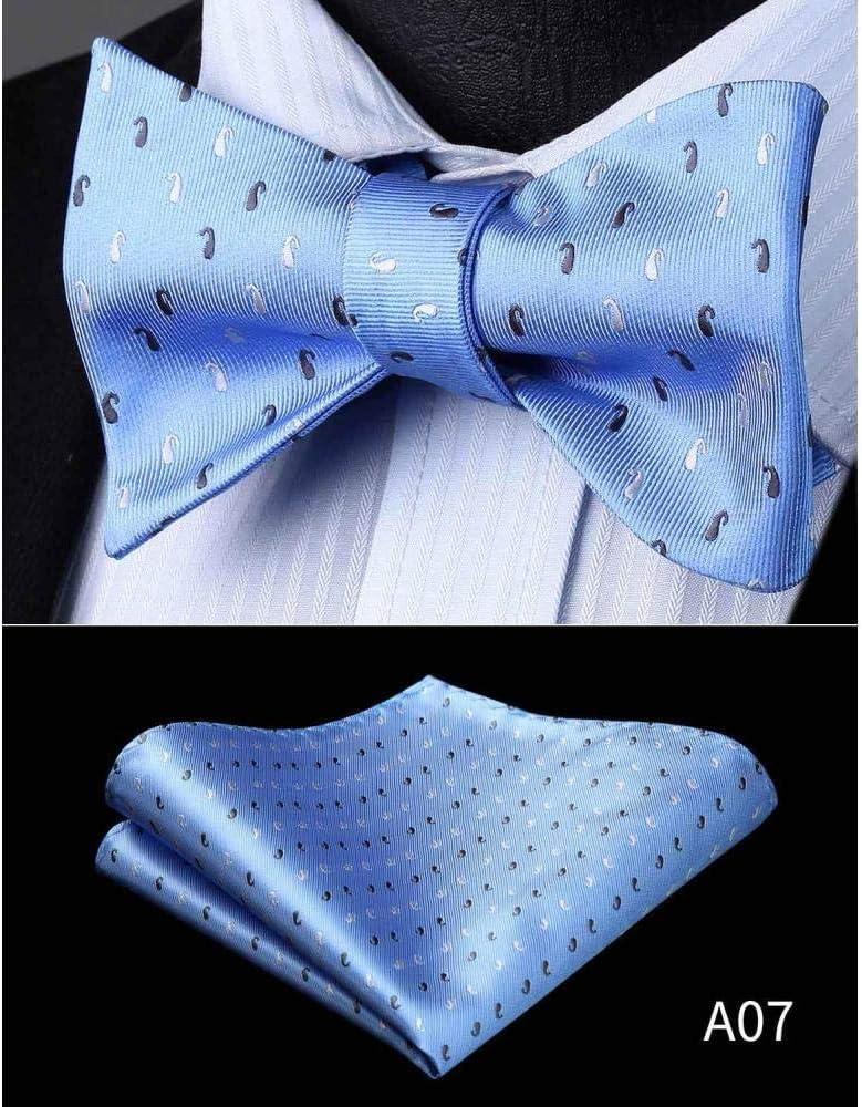 ZXCVBN Mens Tie Check Dot Silk Jacquard Woven Men Butterfly Self Pocket Square Handkerchief Suit Set