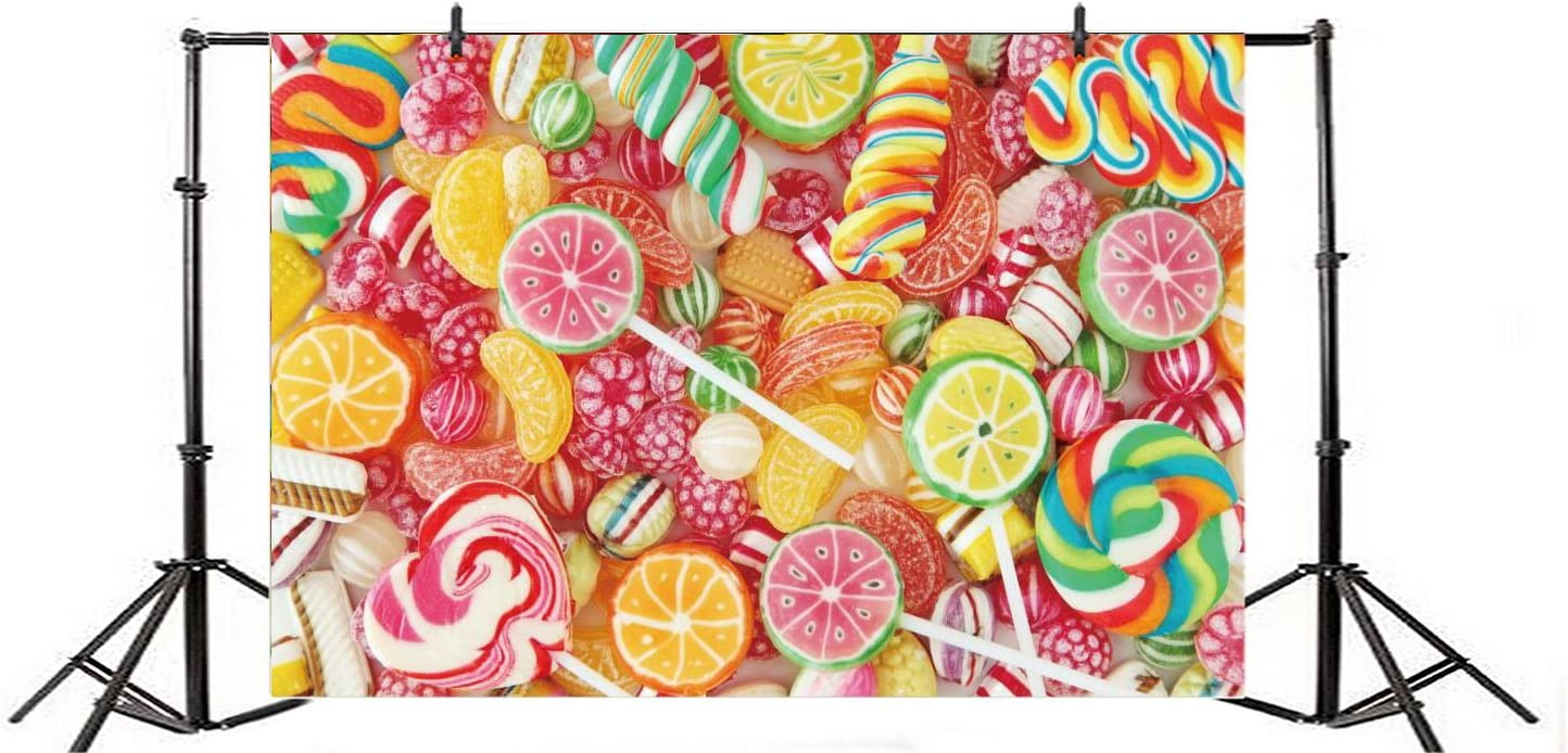 Baocicco 6x4ft Lollipop Bonbon Backdrop Vinyl Photography Background Mixed Colorful Fruit Candy Childrens Party Birthday Dessert Table Sweet Childhood Happiness Babyshower Holiday Festival Wedding