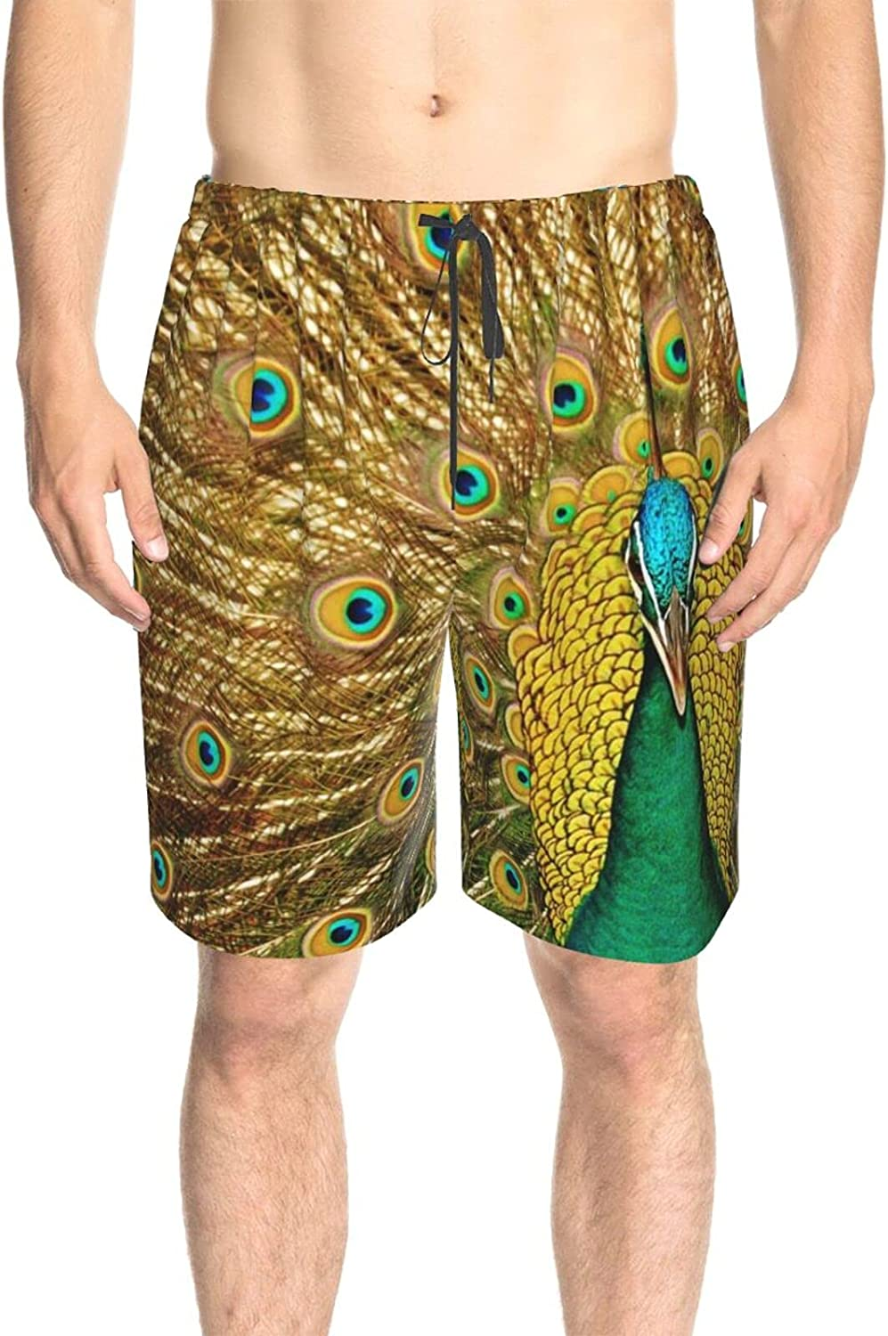 JINJUELS Men's Swim Shorts Peacock Feather Background Swim Boardshorts Fast Dry Fashion Swimming Trunks with Liner