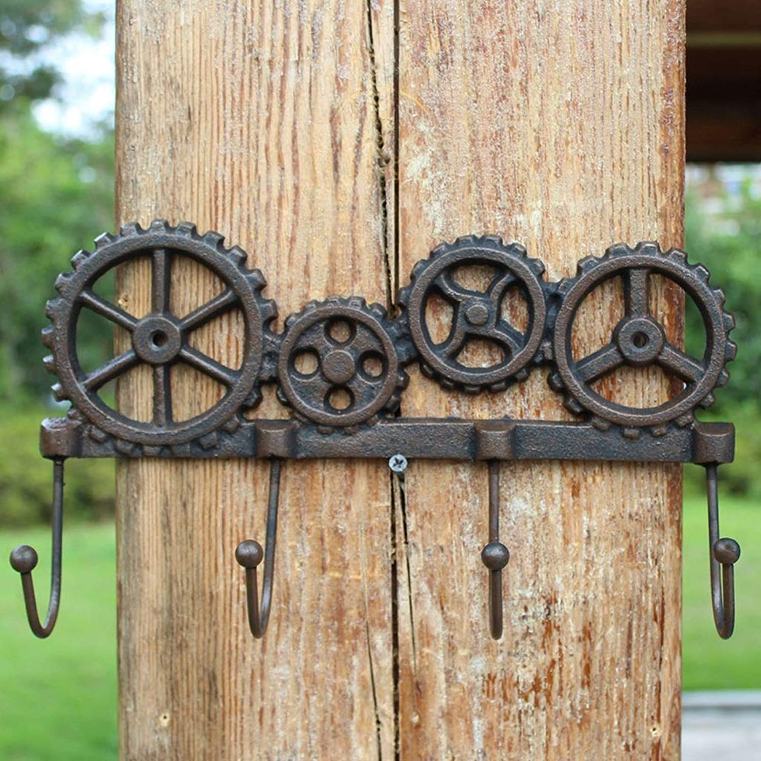 XUYRENP Vintage Industrial Style Cast Iron Creative Gear Wall Home Decoration Hook