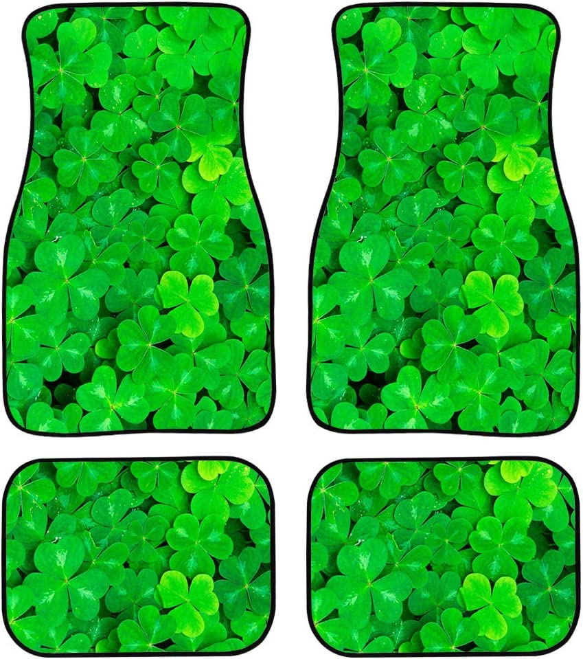ZERODATE Green Tropical Selling and selling Shamrocks Grass Car Mat Foot Floor unisex Pads