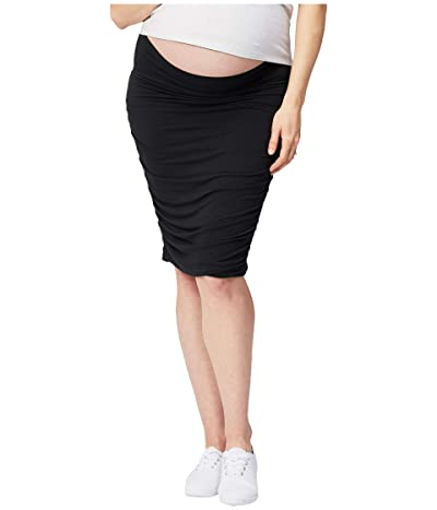 Cake Maternity Maternity Ruched Fitted Skirt (Black) Women