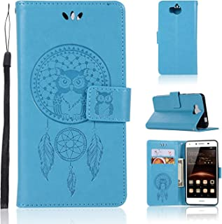 Protective Cell Phone Cases Owl Embossed Pattern Cover Case PU Leather Wallet Case For Huawei Y6 2017 Absorption Bumper Cover (Color : Blue)