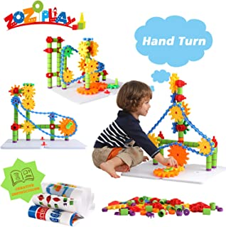 ZoZoplay STEM Toys Gears Building Set, 170 Pieces Learning Blocks, Spinning Gears Interlocking Chain, Connector Pieces and 2 Pegboards, Best Gift for Boys and Girls Ages 3 4 5 6 Years Old