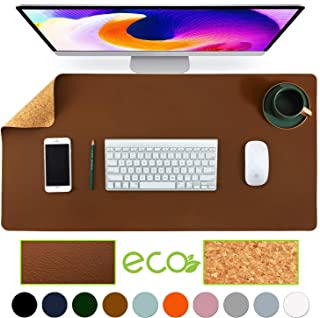 "Aothia Eco-Friendly Natural Cork & Leather Double-Sided Office Desk Mat Mouse Pad Smooth Surface Soft Easy Clean Waterproof PU Leather Desk Protector for Office/Home Gaming (Brown,31.5"" x 15.7"")"
