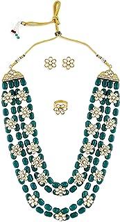 Zaveri Pearls Green Beads Ethnic Kundan Flowers Necklace Earring & Ring Set For Women-ZPFK10801