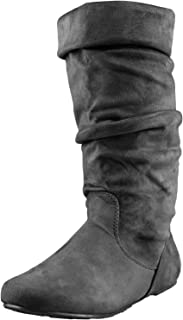 Enimay Women's Winter Fashion High Mid Calf Slouchy Casual Dress Flat Boot