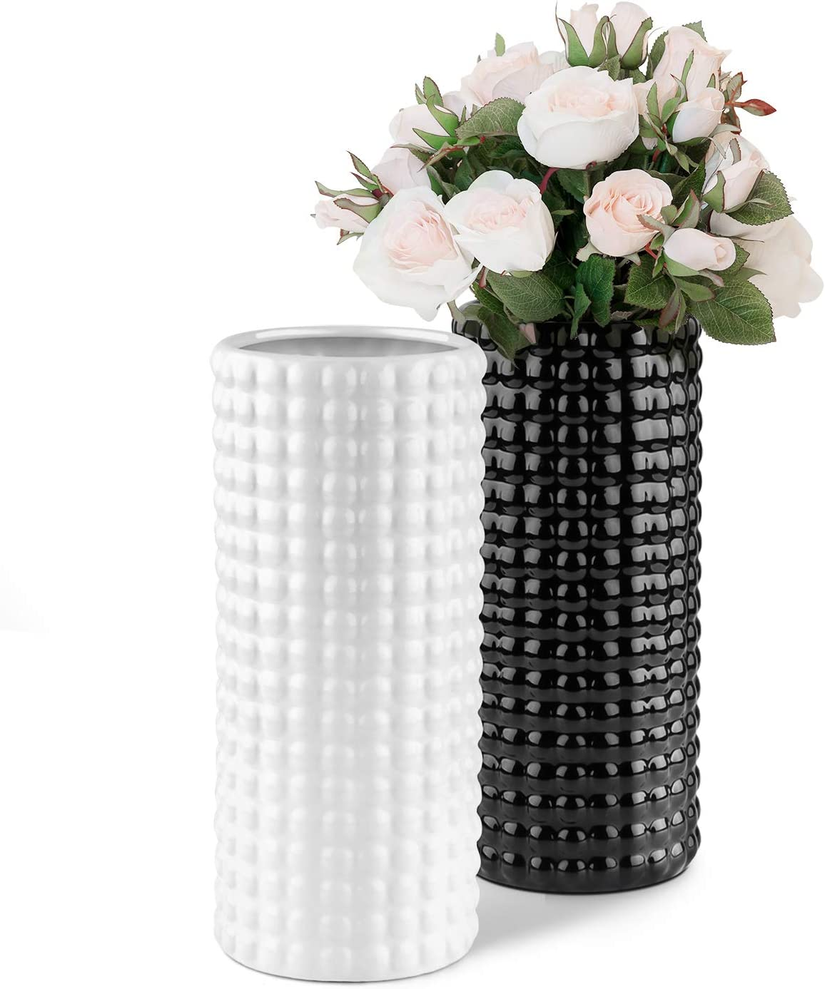 DEXIDUO Ceramic Vase for Flowers, Black and White Cylinder Vase Modern House Farmhouse Decor, Rustic Tall Bud Vase Set of 2 for Home Kitchen Office Centerpiece Living Room Shelf Decorations Accents