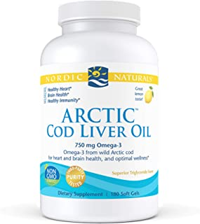 Nordic Naturals Arctic Cod Liver Oil, Lemon - 180 Soft Gels - 750 mg Total Omega-3s with EPA & DHA - Heart & Brain Health,...
