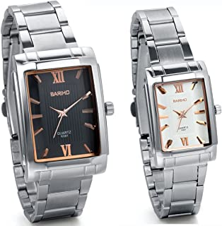 JewelryWe Fashion 2pcs Lovers Couple Steel Casual Square Valentine Watches Analog Quartz Men Ladies Wristwatch