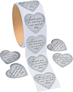 Fun Express - Silver Heart Thank You Stickers for Wedding - Stationery - Stickers - Stickers - Roll - Wedding - 1 Piece