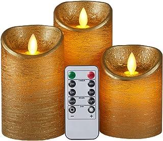 AnnTec LEDキャンドルライト ロウソク ゴールド 本物の炎のようにゆらめく3点セット 暖色光 火を使わない ゆらゆら揺れる 安全 省エネ 専用リモコン付き 明るさ調整 電池式 LEDライトキャンドル(きいろ)