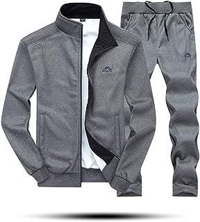 watiFOR Men's 2 PCs Pure Color Tracksuit,Men Autumn Winter with Zipper Lapel Long Sleeve Coat+Long Drawstring Trousers Spo...