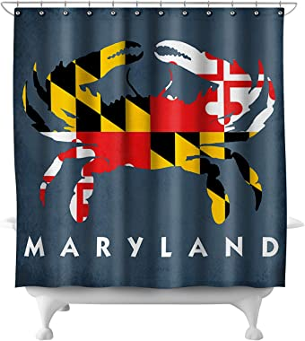 Lantern Press Maryland - Crab Flag 49035 (74x74 Polyester Shower Curtain)