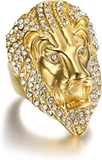 24K Gold Plated Simmulated Diamond CZ Fully Lion King Stainless Steel Ring for Men-Hip Hop Leo Rock Jewelry