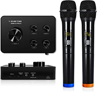 Sound Town Wireless Microphone Karaoke Mixer System w/ HDMI ARC, Optical, AUX, Bluetooth -Support Smart TV, Sound Bar, Media Box, Receiver (SWM15-PRO)