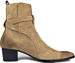 OSSTONE Dress Boot for Men Leather Chukka Designer Boots Casual Heel Shoes Buckle