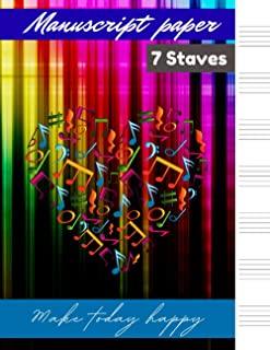 Manuscript paper 7 staves Spectrum colored background cover, 7 staves per page 100 pages – Large (8.5 x 11 inches)